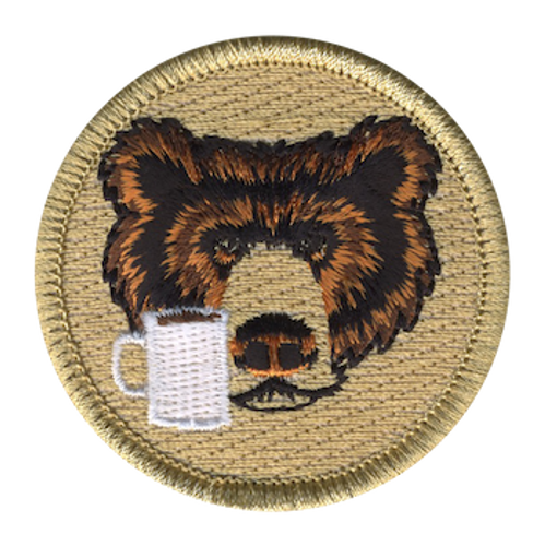 Coffee Cup Bear Scout Patrol Patch - embroidered 2 inch round