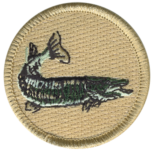 Northern Pike Fish Scout Patrol Patch - embroidered 2 inch round