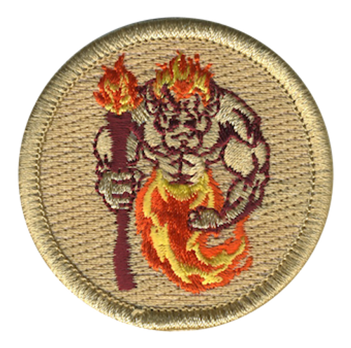 Fiery Troll Scout Patrol Patch - embroidered 2 inch round
