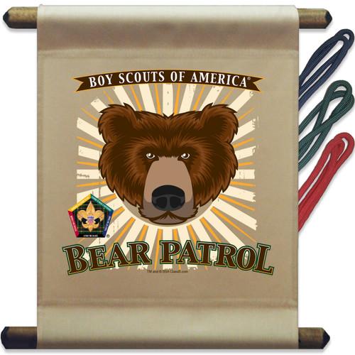 Wood Badge Mini Flag of Wood Badge Bear with Wood Badge Logo