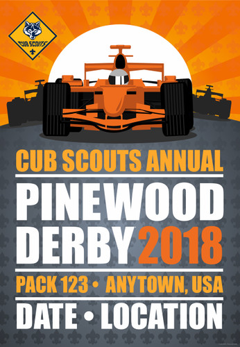 Cub Scout Pack Pinewood Derby Poster with Cub Scout Logo