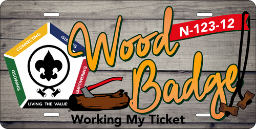 License Plate Wood Badge Working My Ticket SP7268
