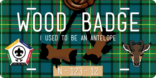 BSA Wood Badge License Plate with Wood Badge Antelope Critter, Wood Badge Tartan Background, Wood Badge Beads and Wood Badge Course Number