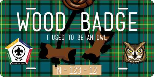 BSA Wood Badge License Plate with Wood Badge Tartan Background, Wood Badge Beads, Wood Badge Owl Critter,  and Wood Badge Course Number