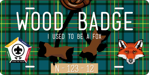 BSA Wood Badge License Plate with Wood Badge Tartan Background, Wood Badge Beads, Wood Badge Fox Critter and Wood Badge Course Number