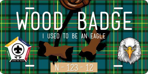 BSA Wood Badge License Plate with Wood Badge Eagle Critter, Wood Badge Beads and Wood Badge Course Number