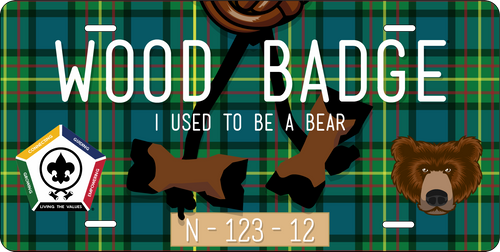 BSA Wood Badge License Plate with Wood Badge Bear Critter, Wood Badge Beads and Wood Badge Course Number