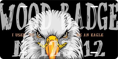 License Plate Wood Badge Eagle and Course Information SP7279