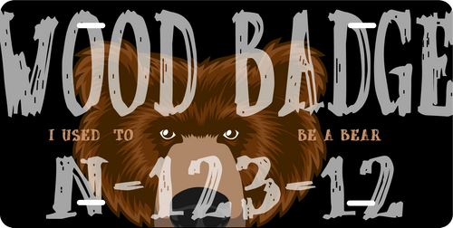 License Plate Wood Badge Bear and Course Information SP7275