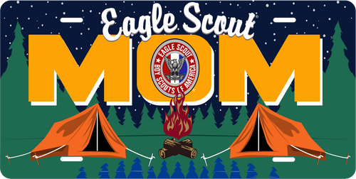 Scouts BSA Eagle Scout Mom License Plate with Eagle Scout Logo