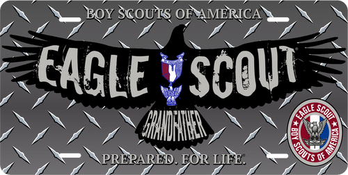 Scouts BSA Eagle Scout Grandfather License Plate with Eagle Scout Logo