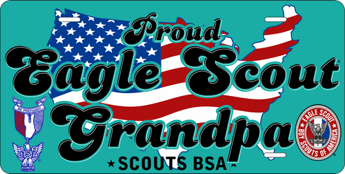 Scouts BSA Eagle Scout Grandpa License Plate with Eagle Scout Logo