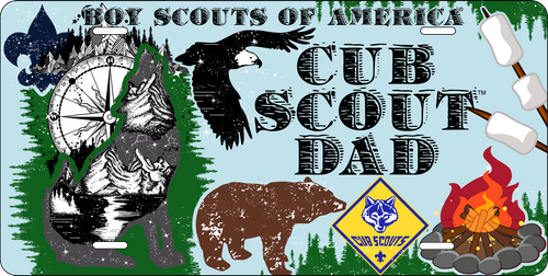 Cub Scout Pack Dad License Plate with Cub Scout Logo