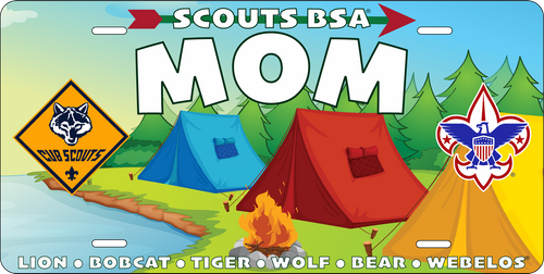 Cub Scout Pack Mom License Plate with Cub Scout Logo and BSA Logo