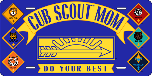 Cub Scout Pack Mom License Plate with Cub Scout Ranks Logo