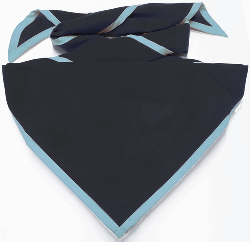 Blank Black Neckerchief with Iris Piped Edge - Troop Size (B848 BST 8/61)