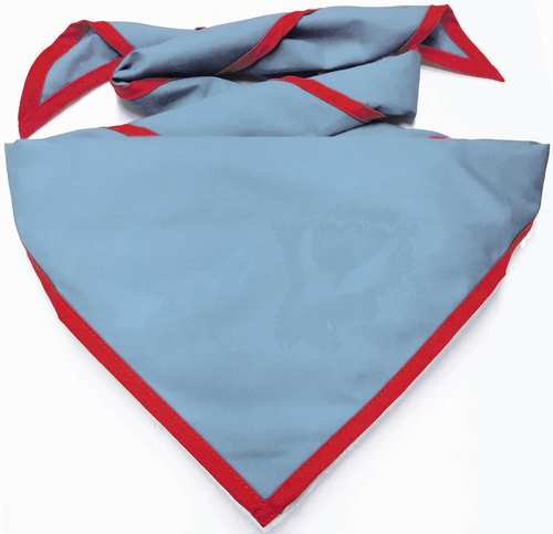 Blank Light Blue Neckerchief with Red Piped Edge - Troop Size (B848 BST 59/5)