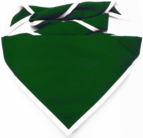 Blank Forest Green Neckerchief with White Piped Edge - Troop Size (B848 M 89/1)