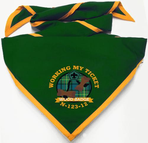 Wood Badge Neckerchief of Wood Badge Beads on Wood Badge Tartan Background
