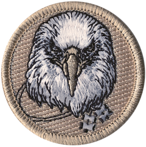 Wood Badge Eagle with Four Beads Scout Patrol Patch - embroidered 2 inch round