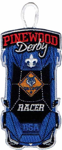 Pinewood Derby Patch with Cub Scout Logo and Button Loop