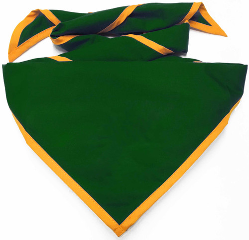 Blank Forest Green Neckerchief with Gold Piped  Edge - Troop Size (B848 BT 27/9)