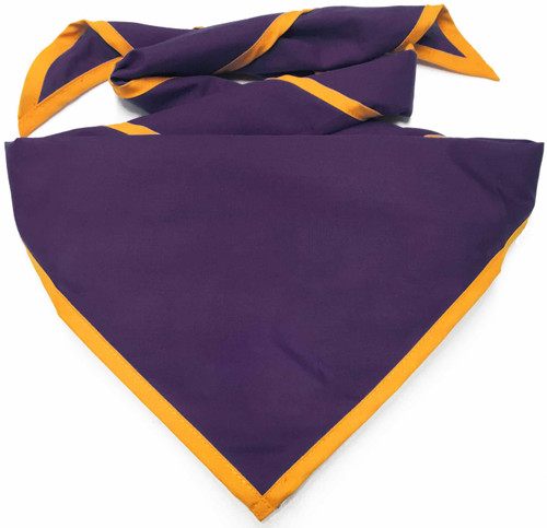 Blank Purple Neckerchief with Gold Piped  Edge - Troop Size (B848 BT 71/9)