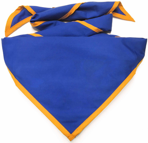 Blank Royal Blue Neckerchief with Gold Piped  Edge - Troop Size (B848 BT 67/9)