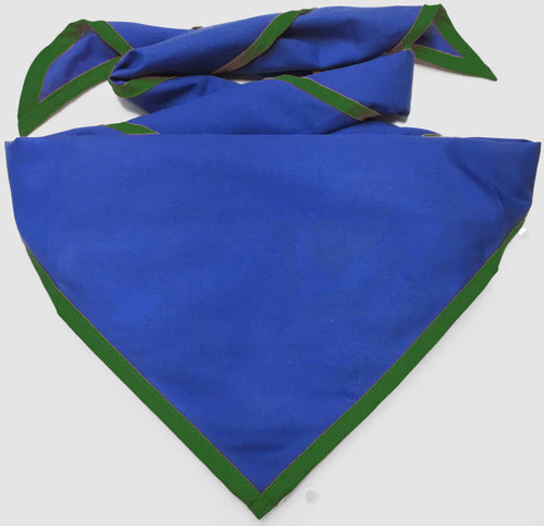 Blank Royal Blue Neckerchief with Forest Green Piped  Edge - Troop Size (B848 BT 67/27)