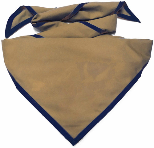 Blank Tan Neckerchief with Navy Piped  Edge - Troop Size (B848 BT 49/72)