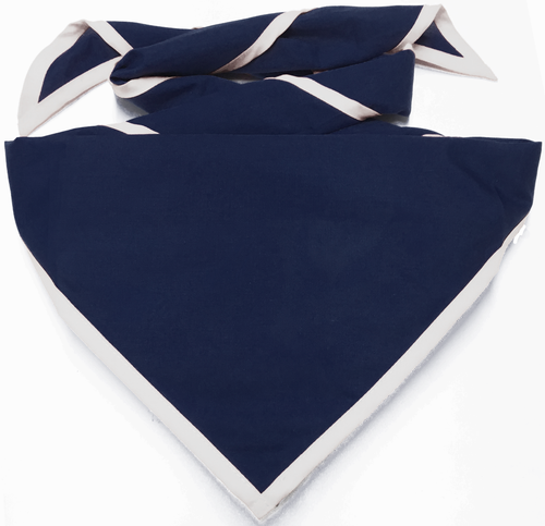 Blank Navy Blue Neckerchief with White Piped  Edge - Troop Size (B848 BT 72/1)