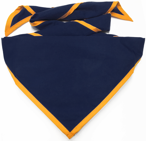Blank Navy Blue Neckerchief with Gold Piped  Edge - Troop Size (B848 BT 72/9)