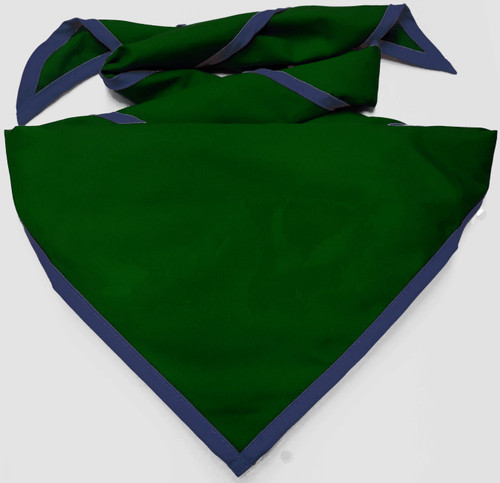 Blank Forest Green Neckerchief with Metro Blue Piped  Edge - Troop Size (B848 BT 27/15)