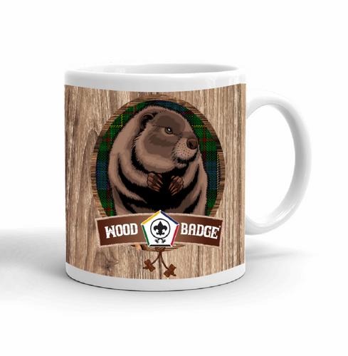 Wood Badge Mug with Wood Badge Beaver Critter with Wood Badge Logo and Wood Badge Bead - Right View