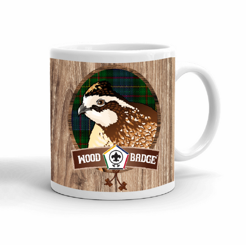 Wood Badge Mug with Wood Badge Bobwhite Critter with Wood Badge Logo and Wood Badge Bead - Right View