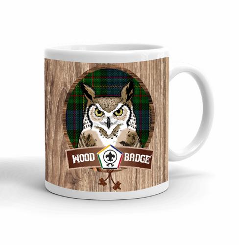 Wood Badge Mug with Wood Badge Owl Critter and Wood Badge Logo and Wood Badge Beads - Right side