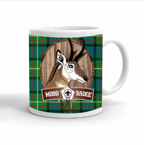Wood Badge Mug with Wood Badge Antelope Critter and Wood Badge Logo and Wood Badge Beads - Right side