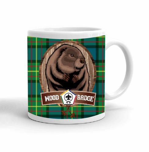Wood Badge Mug with Wood Badge Beaver Critter and Wood Badge Logo and Wood Badge Beads - Right side
