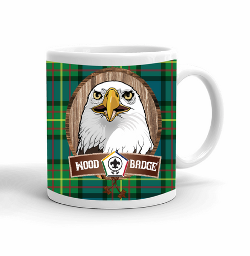 Wood Badge Mug with Wood Badge Eagle Critter and Wood Badge Logo on Wood Badge Tartan Background - Right side