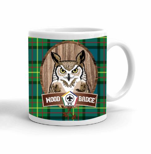 Wood Badge Mug with Wood Badge Owl Critter and Wood Badge Logo on Wood Badge Tartan Background - Right side