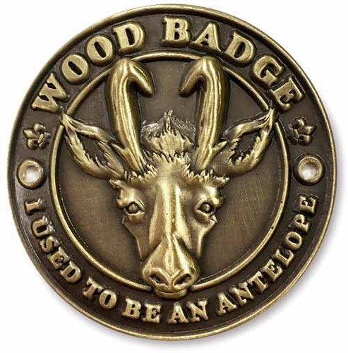Wood Badge Hiking Stick Medallion of Wood Badge Antelope Critter - Flat Front View