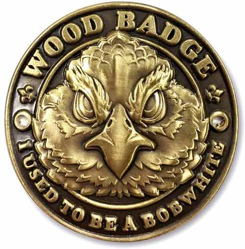 Wood Badge Hiking Stick Medallion of Wood Badge Bobwhite Critter - Flat Front View