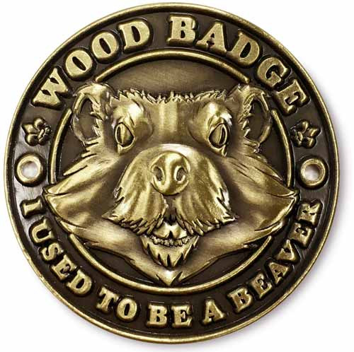 Wood Badge Hiking Stick Medallion of Wood Badge Beaver Critter - Flat Front View