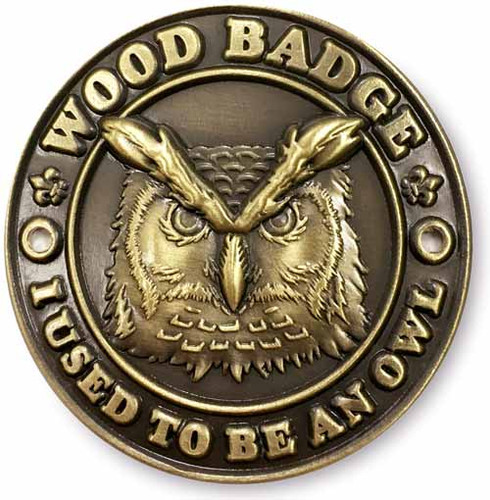 Wood Badge Hiking Stick Medallion of Wood Badge Owl Critter - FlatFront View
