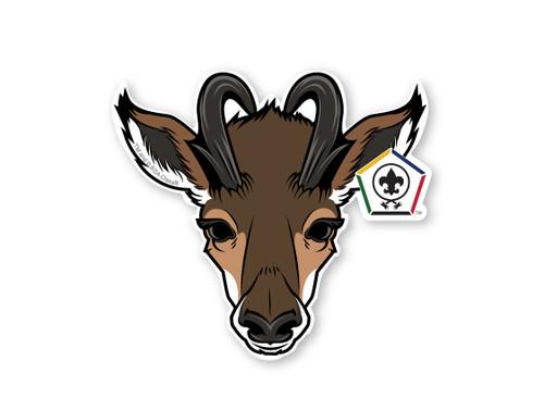 Wood Badge Sticker of Wood Badge Antelope with Wood Badge Logo