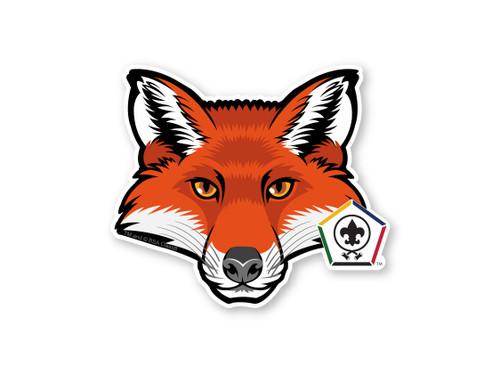 Wood Badge Sticker of Wood Badge Fox with Wood Badge Logo