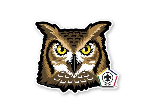 Wood Badge Sticker of Wood Badge Owl with Wood Badge Logo