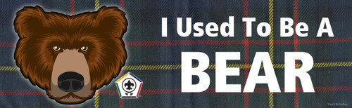 Wood Badge Bumper Sticker with Wood Badge Bear Critter and Wood Badge logo