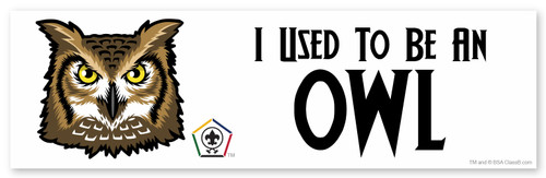 Wood Badge Bumper Sticker with Wood Badge Owl Critter and Wood Badge Logo