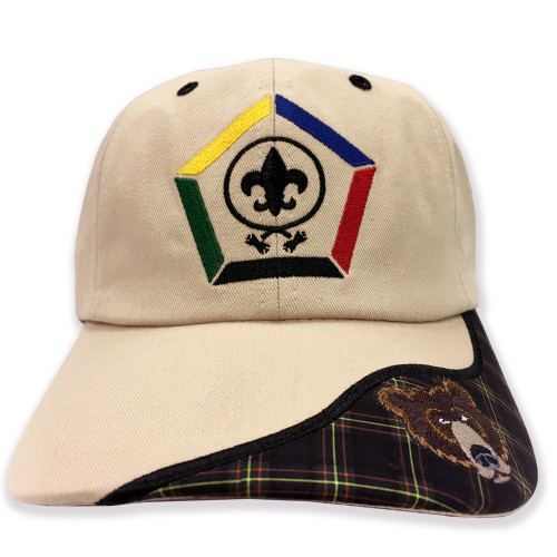 Wood Badge Hat with Wood Badge Logo and Wood Badge Bear Critter - Front View
